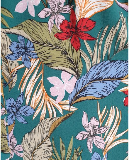 Robe longue asymétrique verte fleurs et feuillages multicolores