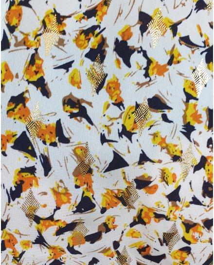 Robe blanche manches volantes à motifs marines jaunes oranges losanges dorés