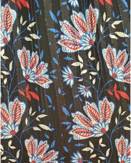 Robe noire à motifs fleuris rouge et bleus bretelles à noeuds