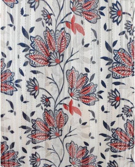 Robe blanche à motifs fleuris rouge et bleus bretelles à noeuds