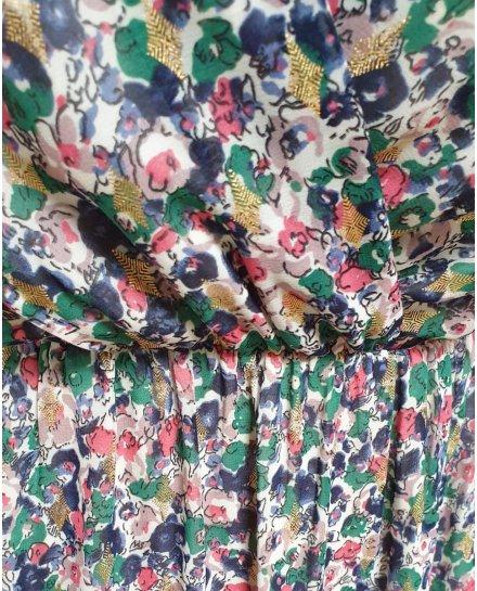 Robe longue blanche fleurs vertes bleues et roses épaules nouées
