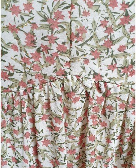 Robe fluide blanche fleurs roses feuillages verts et dorés
