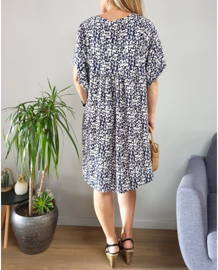 Robe grande taille fluide marine fleurs liberty blanches