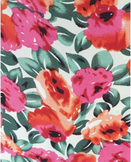 Robe longue portefeuille à fleurs oranges et roses