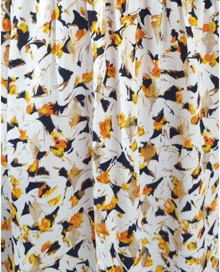 Robe longue blanche motifs oranges jaunes noirs losanges dorés épaules nouées