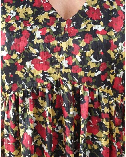 Robe fluide noire fleurs liberty rouges jaunes kaki blanches manches 3/4