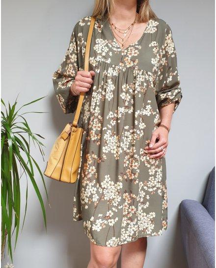 Robe fluide oversize à fleurs pastelles manches longues