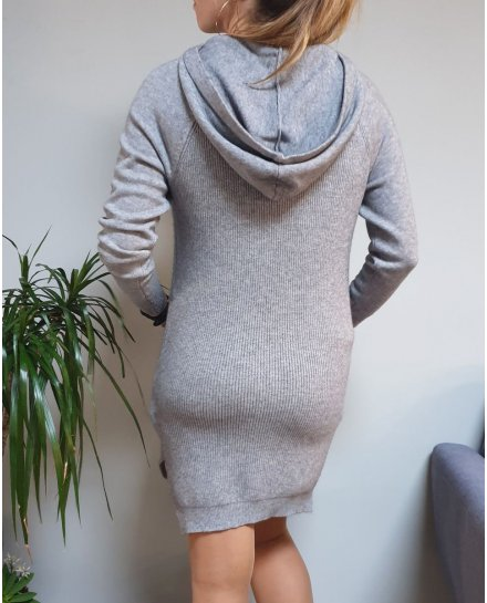 Robe pull à capuche cordons maille métallisés
