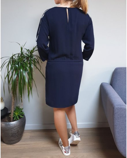 Robe bleue marine bande argent cloutée