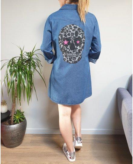 Robe chemise en jeans tête de mort leopard étoiles roses