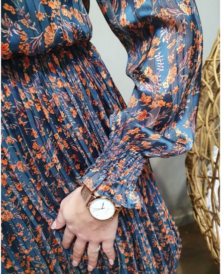 Robe plissée à volants bleu canard à fleurs orangées