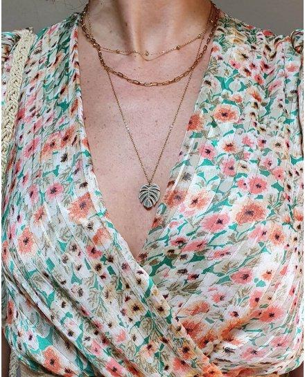 Robe longue verte fleurs roses et beiges avec liseré doré
