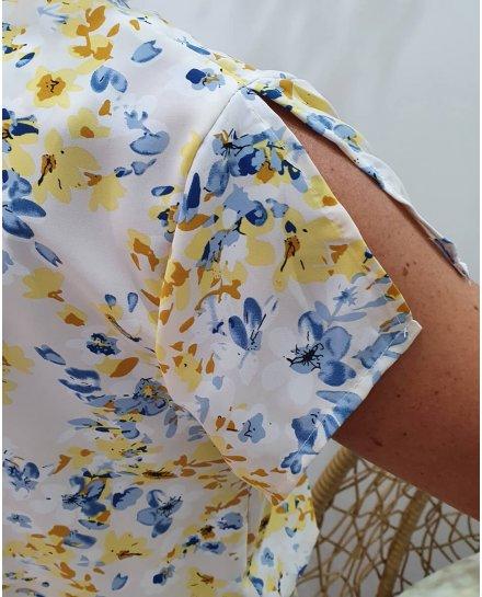 Robe écru imprimé floral jaune et bleu