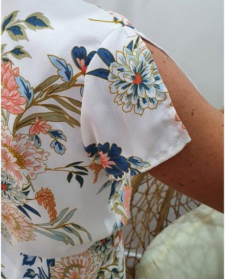 Robe blanche imprimé floral bleu rose et vert