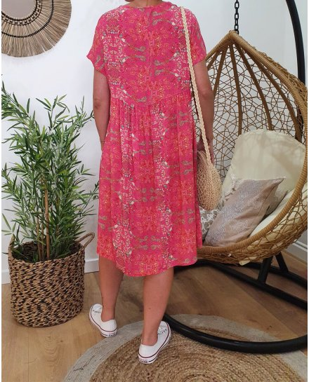 Robe fluide oversize manches courtes