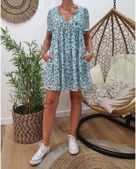 Robe-short blanche imprimé bleu et vert