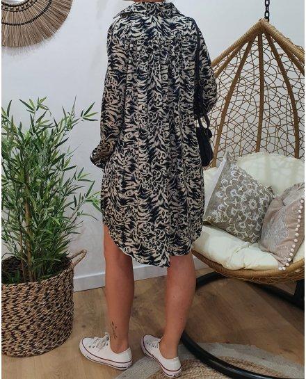 Robe effet satiné beige imprimé léopard noir et bleu