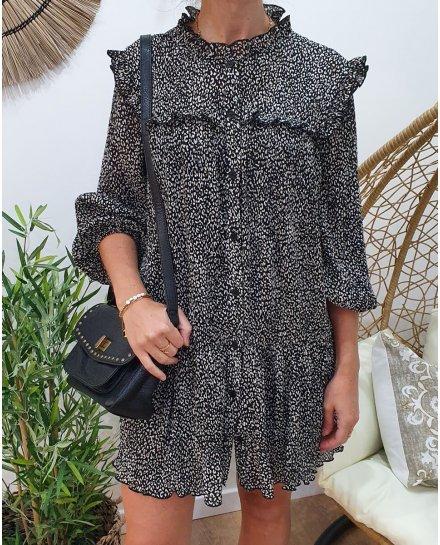 Robe plissée noire imprimé léopard beige