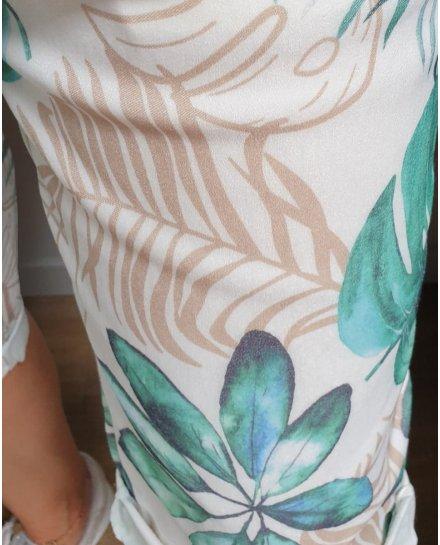 Short fluide blanc feuillages exotiques turquoise et beige