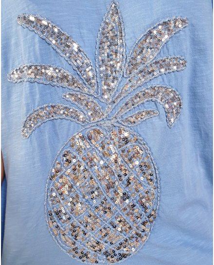 T-Shirt oversize bleu indigo ananas à sequins argent