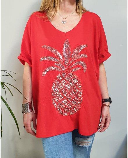 T-Shirt oversize rouge ananas à sequins argent