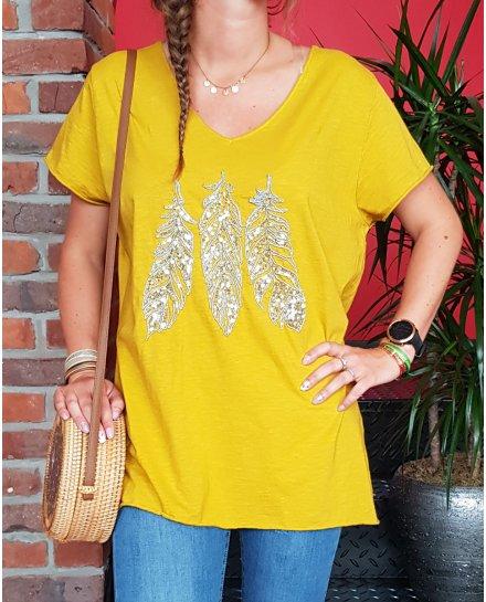 T-Shirt grande taille moutarde 3 plumes argent à sequins