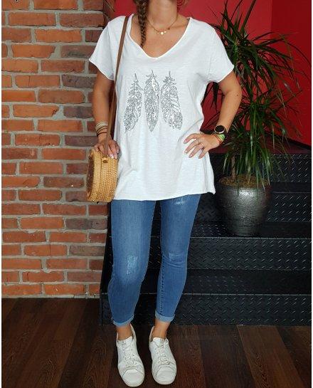T-Shirt grande taille blanc 3 plumes argent à sequins