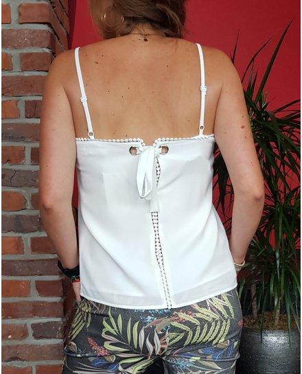 Top blanc à bretelles décolleté broderies rondes et dos nœud à lacer