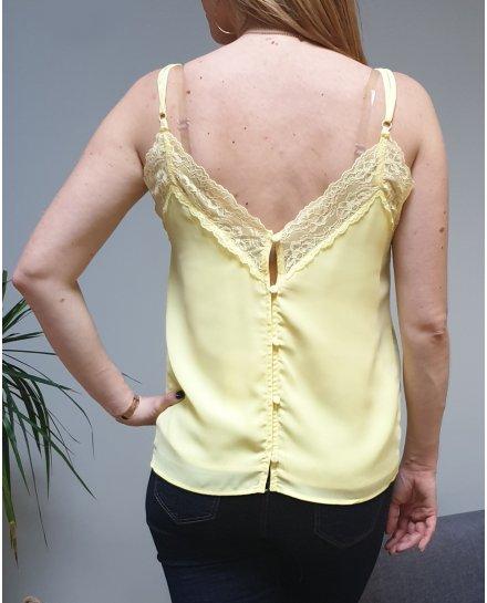 Top jaune à bretelles décolleté et dos dentelle et boutons