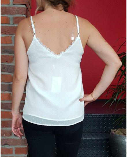 Top blanc plumetis col ondulé à bretelles