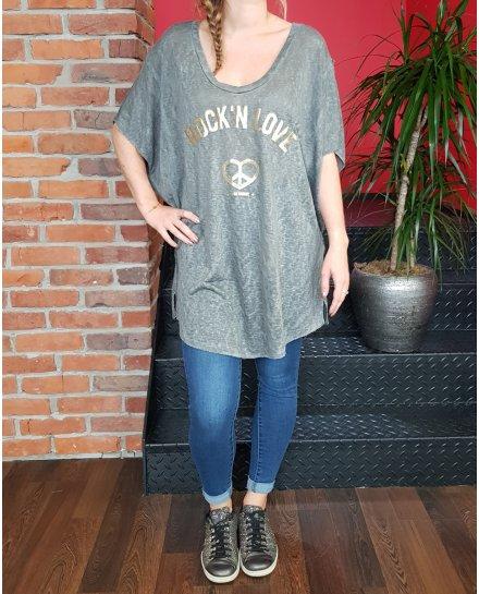 T-Shirt long oversize gris Rock n' Roll Peace doré