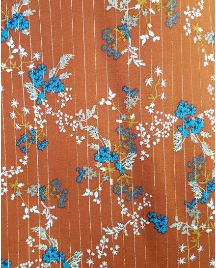 Blouse rouille liserés dorés et fleurs bleues et blanches