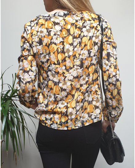 Chemisier fleuri jaune orange gris pois dorés