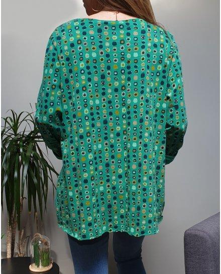 T-Shirt oversize vert à pois multicolores