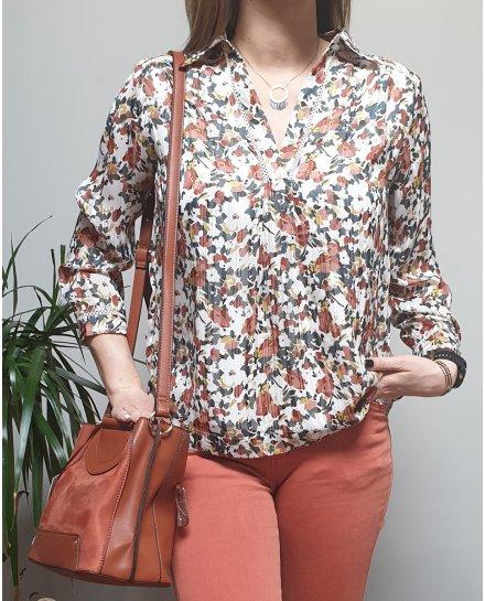 Blouse blanche fleurie multicolore col chemise