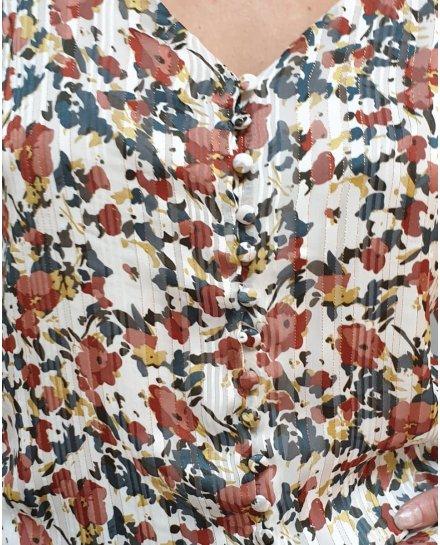 Top fleuri blanc multicolore à bretelles et liserés dorés