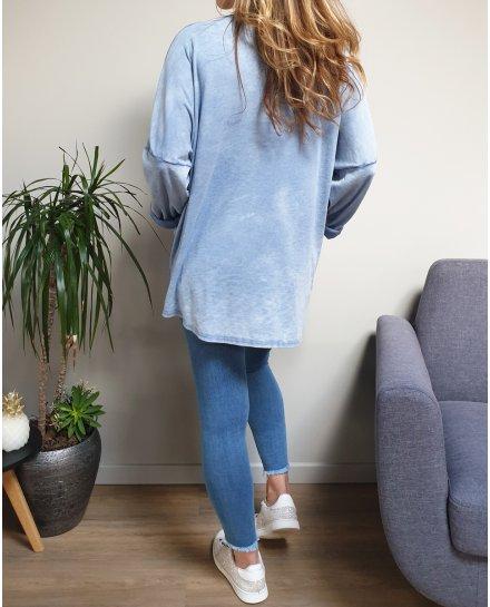 T-Shirt oversize Rock and Love bleu effet délavé