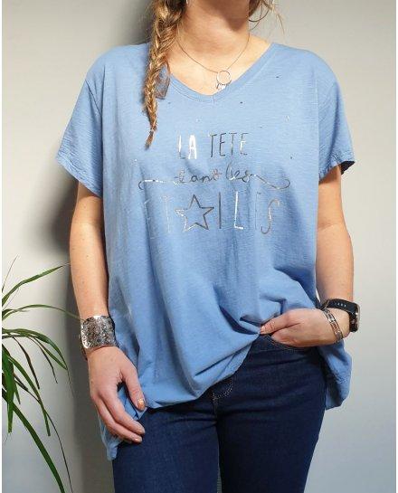 T-Shirt oversize bleu indigo la tête dans les étoiles