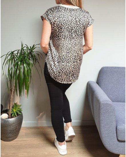 T-shirt imprimé léopard beige col V pailleté