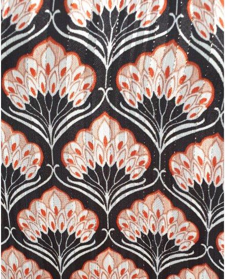 Blouse noire éventails plumes rouges et blancs poignets rayés pailletés