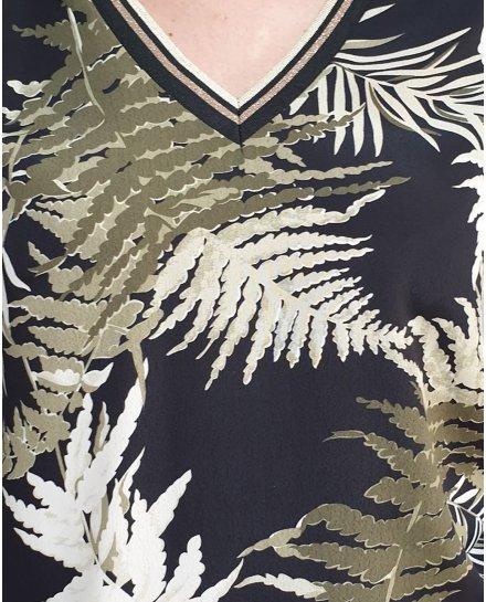 Blouse noir feuillages kaki et blancs col et poignets rayés