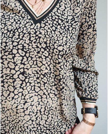 Blouse noire motifs tachetes taupes col et poignets rayés