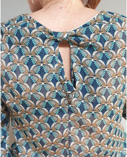 Blouse à motifs eventails bleus et jaunes bas et poignets pailletes