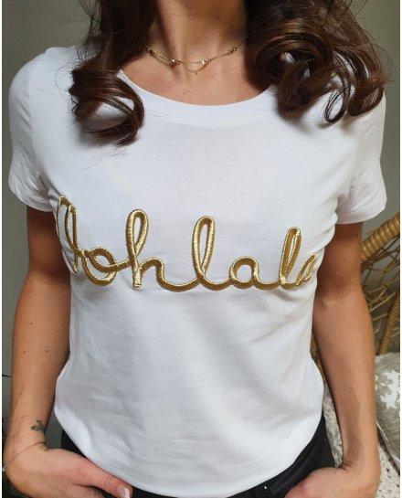 T-Shirt blanc Oohlala doré