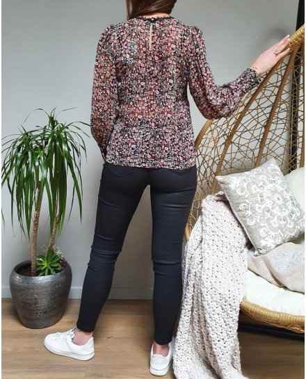 Blouse fleurie liberty multicolore col rond broderies noires