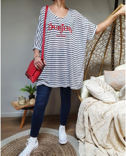 T-Shirt long oversize blanc rayures bleues Bonjour rouge
