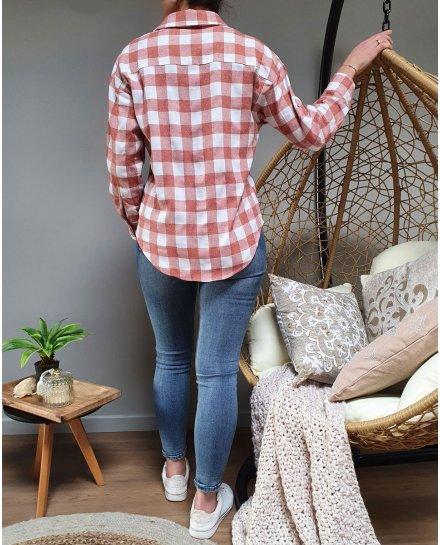 Chemise couleur brique à carreaux