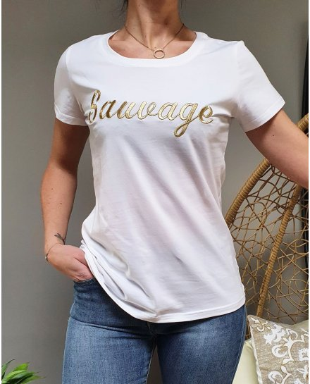 T-Shirt blanc Sauvage doré