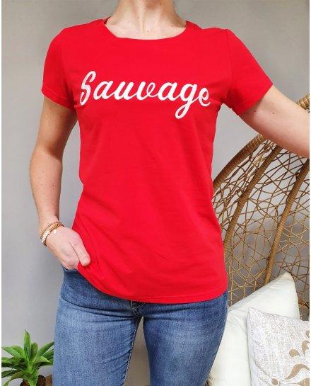 T-Shirt rouge sauvage blanc