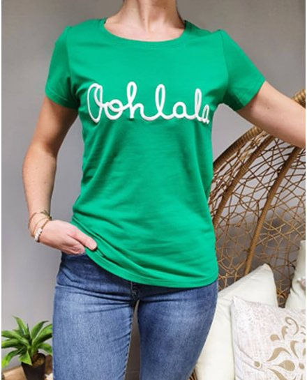 T-Shirt vert oohlala blanc
